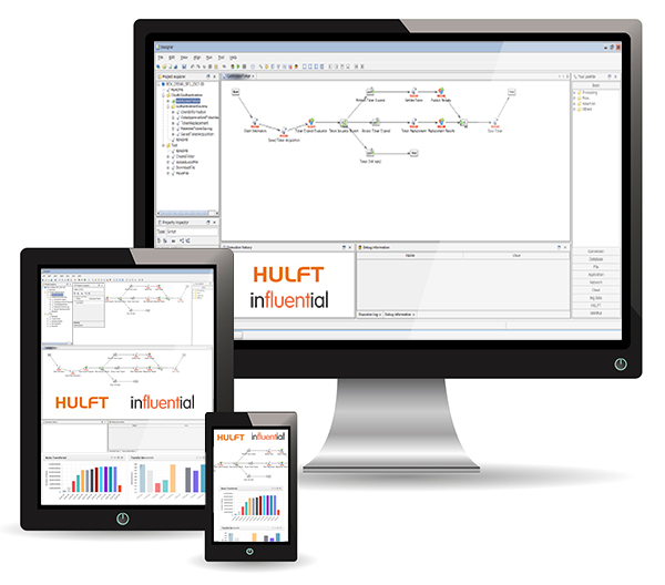 Enterprise Data Architecture with HULFT Integrate and UK Partners Influential - Example Screenshots on 3 devices